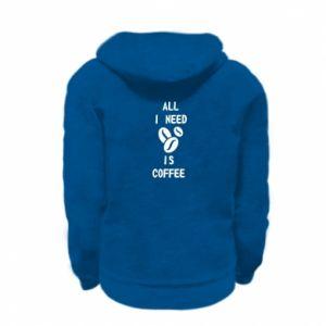 Kid's zipped hoodie % print% All I need is coffee