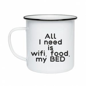 Kubek emaliowany All I need is wifi, food, my bed