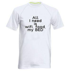 Koszulka sportowa męska All I need is wifi, food, my bed
