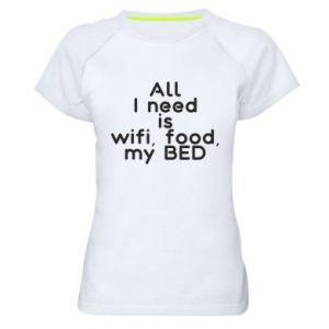 Koszulka sportowa damska All I need is wifi, food, my bed