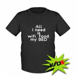 Koszulka dziecięca All I need is wifi, food, my bed