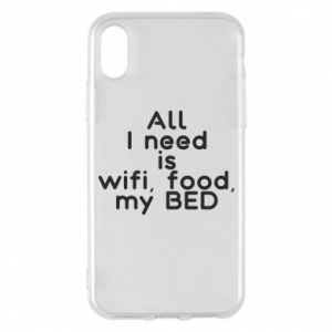 Etui na iPhone X/Xs All I need is wifi, food, my bed