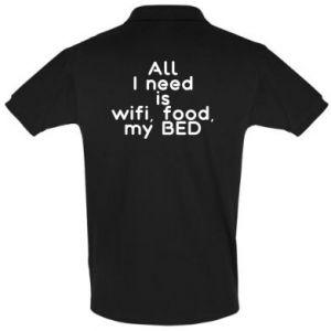 Koszulka Polo All I need is wifi, food, my bed
