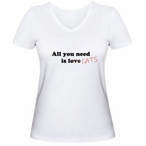 Damska koszulka V-neck All you need is cats