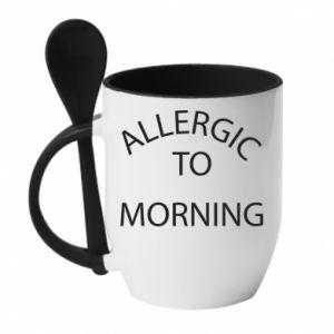 Kubek z ceramiczną łyżeczką Allergic to morning