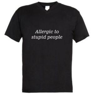 Męska koszulka V-neck Allergik to stupid people