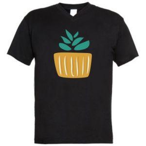 Męska koszulka V-neck Aloe in a pot