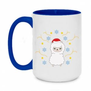 Two-toned mug 450ml Alpaca in the Snowflakes