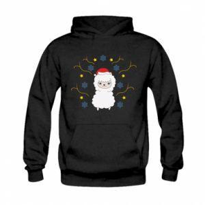 Kid's hoodie Alpaca in the Snowflakes