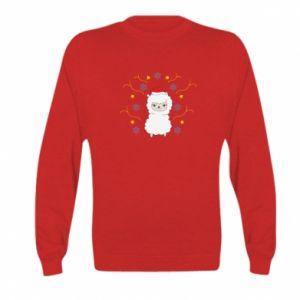 Kid's sweatshirt Alpaca in the Snowflakes