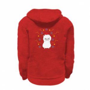 Kid's zipped hoodie % print% Alpaca in the Snowflakes