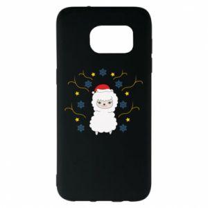 Samsung S7 EDGE Case Alpaca in the Snowflakes
