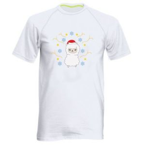 Men's sports t-shirt Alpaca in the Snowflakes