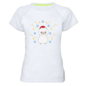 Women's sports t-shirt Alpaca in the Snowflakes