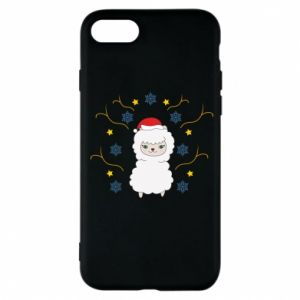 Phone case for iPhone 7 Alpaca in the Snowflakes