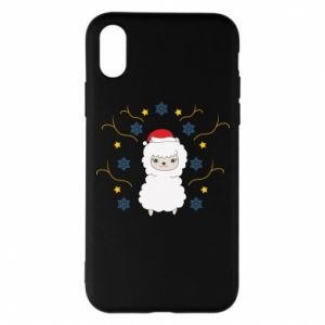 Phone case for iPhone X/Xs Alpaca in the Snowflakes