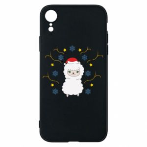 Phone case for iPhone XR Alpaca in the Snowflakes