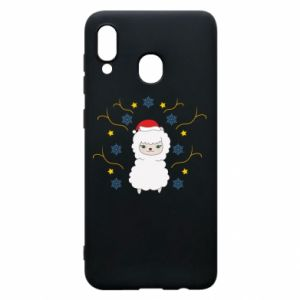 Phone case for Samsung A20 Alpaca in the Snowflakes