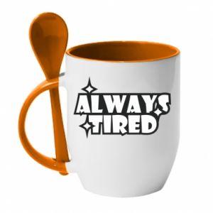 Kubek z ceramiczną łyżeczką Always tired