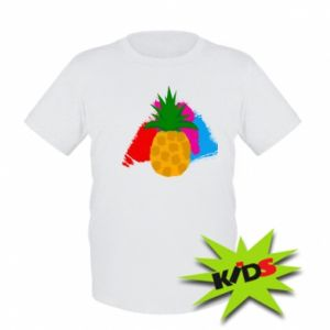Kids T-shirt Pineapple on a bright background