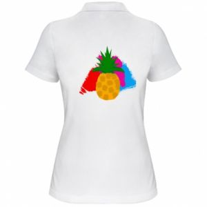 Women's Polo shirt Pineapple on a bright background