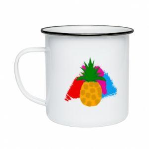 Enameled mug Pineapple on a bright background