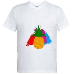 Men's V-neck t-shirt Pineapple on a bright background