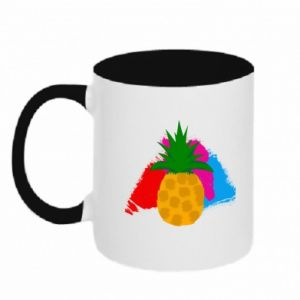 Two-toned mug Pineapple on a bright background