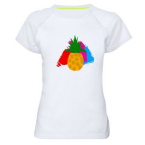 Women's sports t-shirt Pineapple on a bright background
