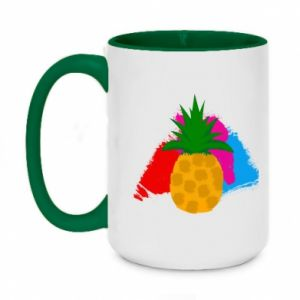 Two-toned mug 450ml Pineapple on a bright background