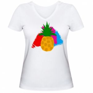 Women's V-neck t-shirt Pineapple on a bright background