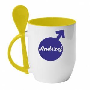 Kubek z ceramiczną łyżeczką Andrzej