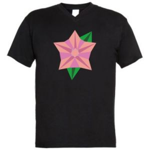 Men's V-neck t-shirt Angle Flower Abstraction - PrintSalon