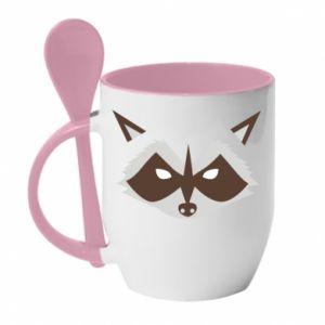 Kubek z ceramiczną łyżeczką Angle Raccoon