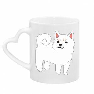 Mug with heart shaped handle Angry dog