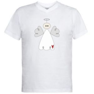 Men's V-neck t-shirt Angel with heart