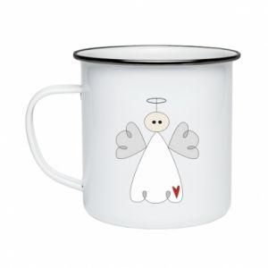 Enameled mug Angel with heart