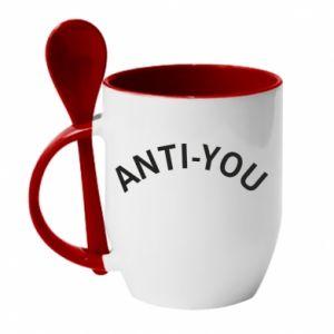 Kubek z ceramiczną łyżeczką Anti-you