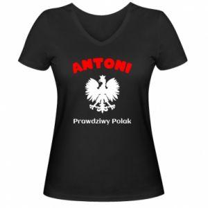Damska koszulka V-neck Antoni jest prawdziwym Polakiem