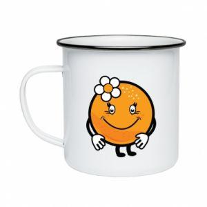 Enameled mug Orange, for girls - PrintSalon