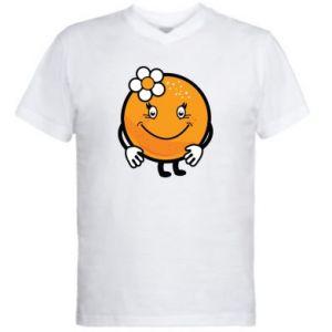 Men's V-neck t-shirt Orange, for girls - PrintSalon