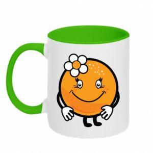 Two-toned mug Orange, for girls - PrintSalon