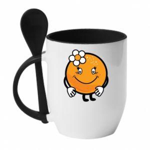 Mug with ceramic spoon Orange, for girls - PrintSalon