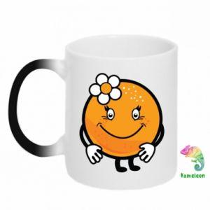 Chameleon mugs Orange, for girls - PrintSalon