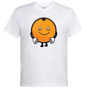 Men's V-neck t-shirt Orange