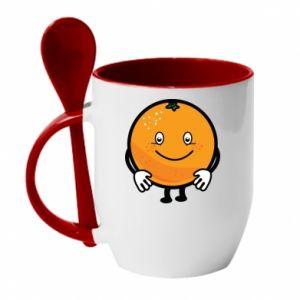 Mug with ceramic spoon Orange - PrintSalon
