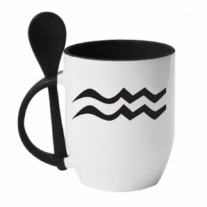 Mug with ceramic spoon Aquarius constellation - PrintSalon