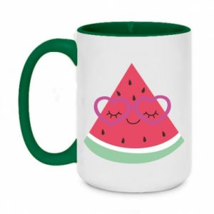 Two-toned mug 450ml Watermelon with glasses