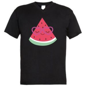 Men's V-neck t-shirt Watermelon with glasses