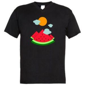 Men's V-neck t-shirt Watermelon
